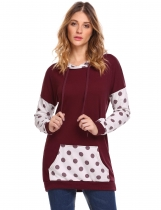 Wine red Women Hooded Sweatshirts Long Sleeve Dot Patchwork Casual Pullover Hoodies