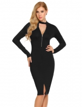 Black Women Casual V-Neck Long Sleeve Solid Zipper Package Hip Bodycon Hem Split Sexy Dress