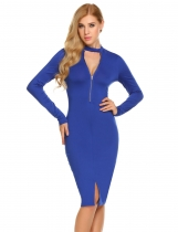 Royal Blue Femmes Casual V Neck à manches longues Solid Zipper Package Hip Bodycon Hem Split Sexy Dress