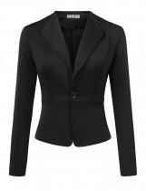 Black Women Long Sleeve Single Button Solid Casual Work Office Blazer Jackets