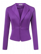 Purple Women Long Sleeve Single Button Solid Casual Work Office Blazer Jackets