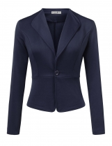 Navy blue Women Long Sleeve Single Button Solid Casual Work Office Blazer Jackets