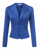 Royal Blue Women Long Sleeve Single Button Solid Casual Work Office Blazer Jackets