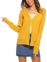 Yellow Women V-Neck Long Sleeve Button Down Knit Cardigan with Pocket