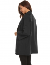 Black Women Lapel Roll Up Sleeve Open Front Button Décor Loose Casual Trench Coat