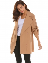 Khaki Women Lapel Roll Up Sleeve Open Front Button Décor Loose Casual Trench Coat