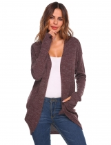 Wine red Women Casual Long Sleeve Open Front Pockets Cardigan