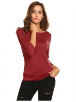 Wine red Women Casual O Neck 3/4 Sleeve Solid Stripe Basic Tee Blouse Tops