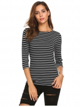 Noir blanc Femmes Casual O Neck 3/4 Sleeve Solid Stripe Basic Tee Blouse Tops