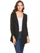 Black Women Long Sleeve Single Button Irregular Slim Fit Casual Hooded Cardigan
