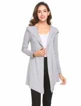 Light gray Women Long Sleeve Single Button Irregular Slim Fit Casual Hooded Cardigan