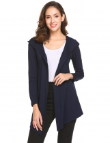 Navy blue Women Long Sleeve Single Button Irregular Slim Fit Casual Hooded Cardigan