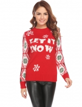 Red Round Neck Long Sleeve Christmas Print Pullover Sweater