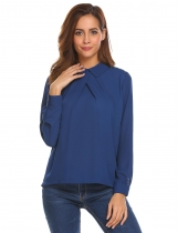Dark blue Women Pleated Long Sleeve Solid Chiffon Shirt Turn Down Collar