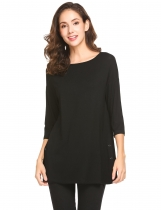 Black Women Round Neck 3/4 Sleeve Side Button Décor Casual Loose Fit Blouse Top