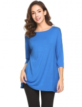 Blue Women Round Neck 3/4 Sleeve Side Button Décor Casual Loose Fit Blouse Top