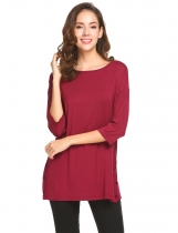 Wine red Women Round Neck 3/4 Sleeve Side Button Décor Casual Loose Fit Blouse Top