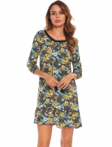 Yellow Femmes col rond cravate impression ethnique Vintage Style Casual Shift Dress