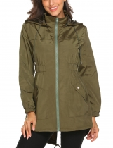 Army green Women Casual Lightweight Hooded Waterproof Outdoor Rain Jacket