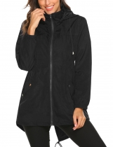 Black Women Casual Lightweight Hooded Waterproof Outdoor Rain Jacket
