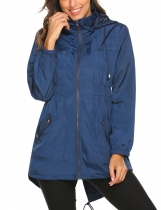 Navy blue Women Casual Lightweight Hooded Waterproof Outdoor Rain Jacket