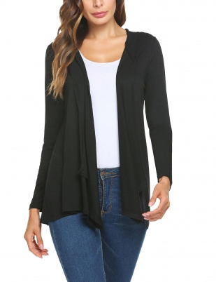 c5f516aab5 Black Women Casual Hooded Long Sleeve Solid Front Open Asymmetrical Ruffle  Loose Cardigan