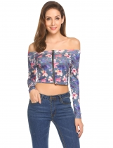 Preto Flora Mulheres Sexy Off Shoulder Long Sleeve Floral Zip-Front Slim Fit Crop Top