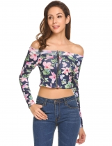 Gray Women Sexy Off Shoulder Long Sleeve Floral Zip-Front Slim Fit Crop Top
