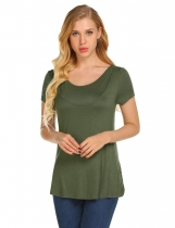 Army green Women O-Neck Short Sleeve Solid Hidden Cut Loose Breastfeeding T-Shirt Tops