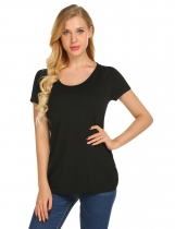 Black Women O-Neck Short Sleeve Solid Hidden Cut Loose Breastfeeding T-Shirt Tops