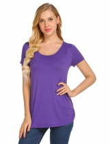 Dark purple Women O-Neck Short Sleeve Solid Hidden Cut Loose Breastfeeding T-Shirt Tops