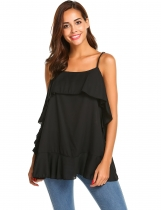 Black Women Casual Ruffles Trim Adjustable Spaghetti Strap Cami Tops