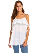 White Women Casual Ruffles Trim Adjustable Spaghetti Strap Cami Tops