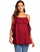Wine red Women Casual Ruffles Trim Adjustable Spaghetti Strap Cami Tops