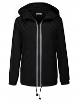 Black Women Outdoor Drawstring Hooded Long Sleeve Waterproof Rain Jacket Windbreaker