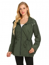 Army green Women Hooded Long Sleeve Solid Button Zipper Closure Short Raincoat