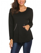 Black Women Casual Long Sleeve Pullover Sweatshirts Tunic Hoodies