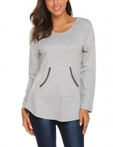 Gray Women Casual Long Sleeve Pullover Sweatshirts Tunic Hoodies