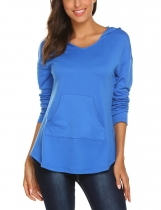 Blue Women Casual Long Sleeve Pullover Sweatshirts Tunic Hoodies