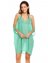 Green Women Spaghetti Strap Cold Shoulder Sheer Chiffon Loose Bikini Cover Up