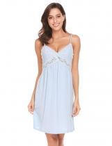 Light blue Women Spaghetti Strap V Neck Sleeveless Lace Patchwork Backless Sleep Dress