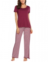 Wine red Women Casual Solid Short Sleeve Top Striped Pants Pajama Set Nightwear