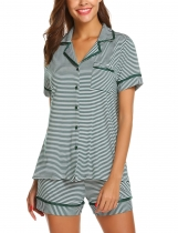 Green Women Casual Stripe Pocket Short Sleeve Top Shorts Pajama Set Nightwear