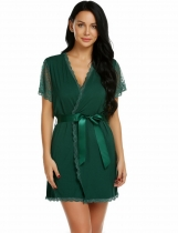 Dark green Women Sexy Patchwork Floral Short Sleeve Loose Robe