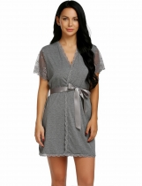 Dark gray Women Sexy Patchwork Floral Short Sleeve Loose Robe