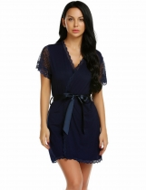 Navy blue Women Sexy Patchwork Floral Short Sleeve Loose Robe