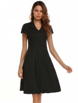 Black Vintage Style Solid V-Neck Draped Asymmetric Hem Dress