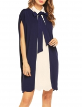 Navy blue Women Batwing Manteau à manches longues Peter Pan Collier Robe Patchwork Loose Knee