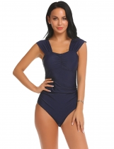 Blue Women Square Neck Sleeveless Solid Ruched One Piece Sexy Bikini Swimwear