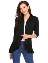 Black Women Casual Open Front Flounce Hem Three Quarter Sleeves Cardigan